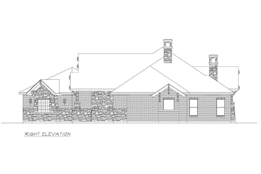 Home Plan Right Elevation of this 4-Bedroom,3065 Sq Ft Plan -195-1265
