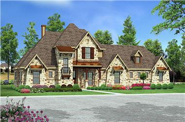 4-Bedroom, 3164 Sq Ft European House - Plan #195-1268 - Front Exterior