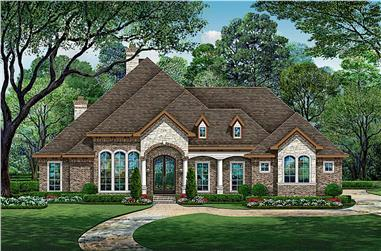 4-Bedroom, 4547 Sq Ft European House - Plan #195-1270 - Front Exterior