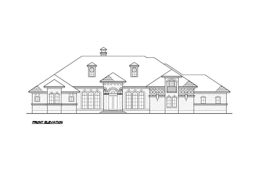 Home Plan Front Elevation of this 5-Bedroom,7354 Sq Ft Plan -195-1277