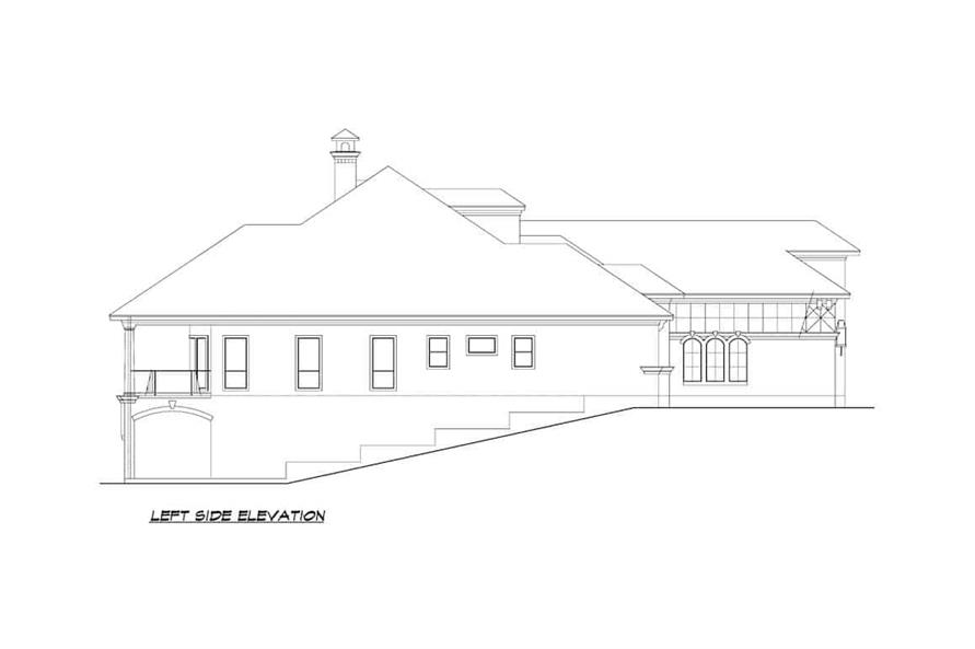 Home Plan Left Elevation of this 5-Bedroom,7354 Sq Ft Plan -195-1277
