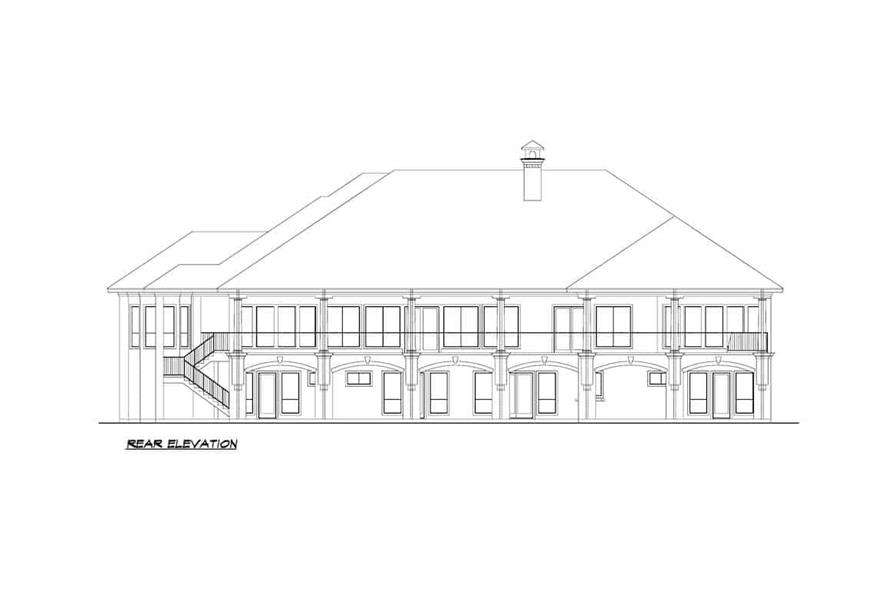 Home Plan Rear Elevation of this 5-Bedroom,7354 Sq Ft Plan -195-1277