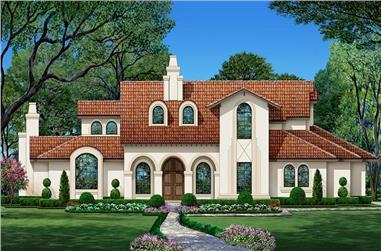 3-Bedroom, 3628 Sq Ft Spanish Home - Plan #195-1281 - Main Exterior