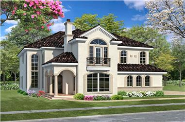 3-Bedroom, 4285 Sq Ft Spanish House - Plan #195-1286 - Front Exterior