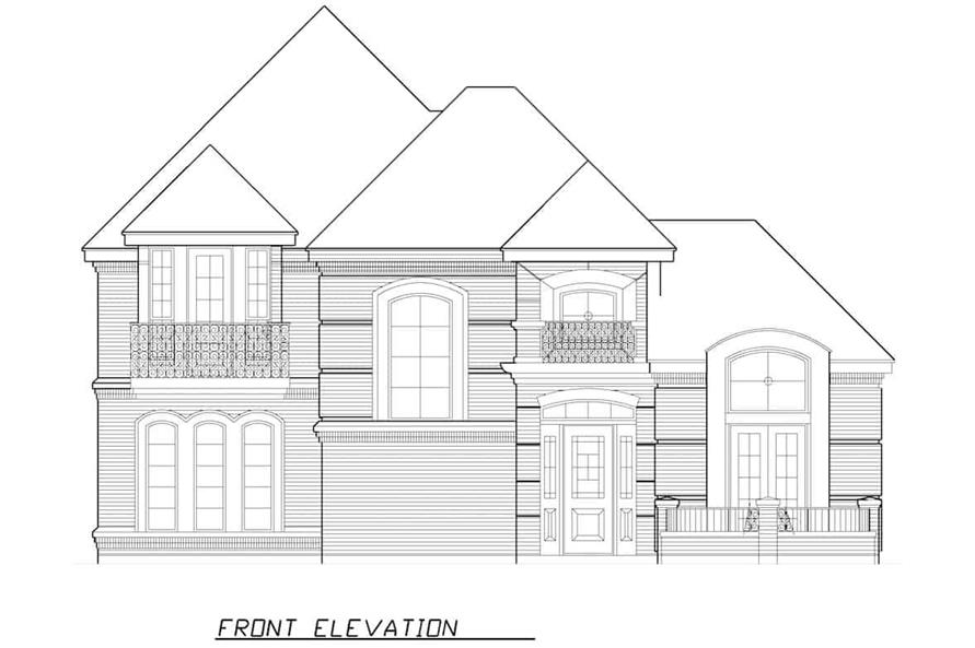 Home Plan Front Elevation of this 3-Bedroom,3288 Sq Ft Plan -195-1287