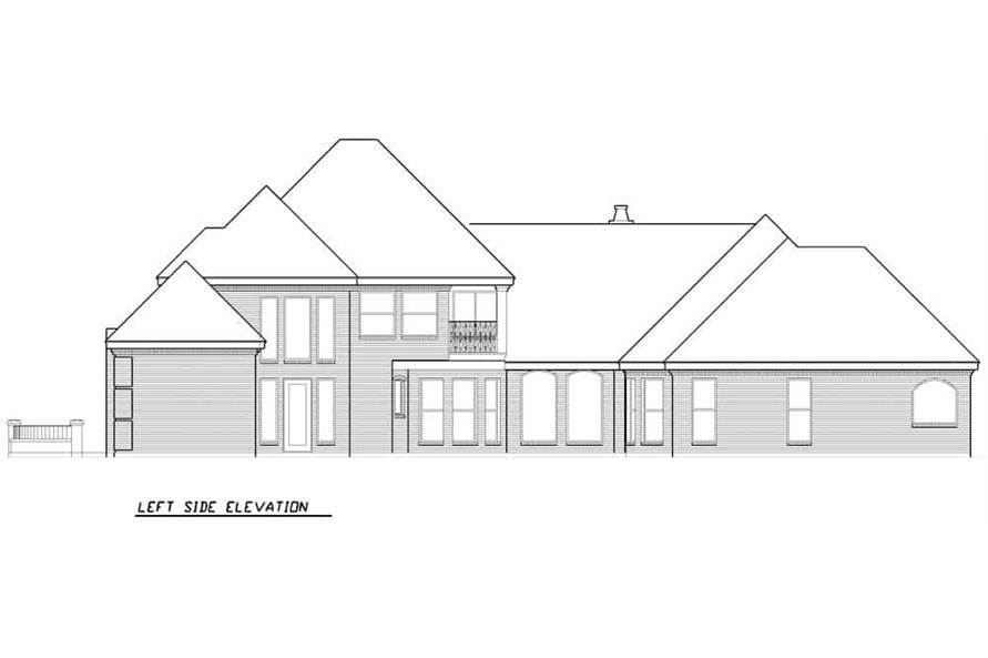 Home Plan Left Elevation of this 3-Bedroom,3288 Sq Ft Plan -195-1287