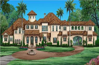 5-Bedroom, 6989 Sq Ft Spanish Home - Plan 195-1289 - Main Exterior