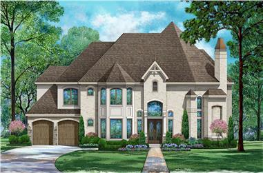 4-Bedroom, 4298 Sq Ft Luxury House - Plan #195-1297 - Front Exterior
