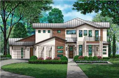 4-Bedroom, 4770 Sq Ft Contemporary House - Plan #195-1306 - Front Exterior