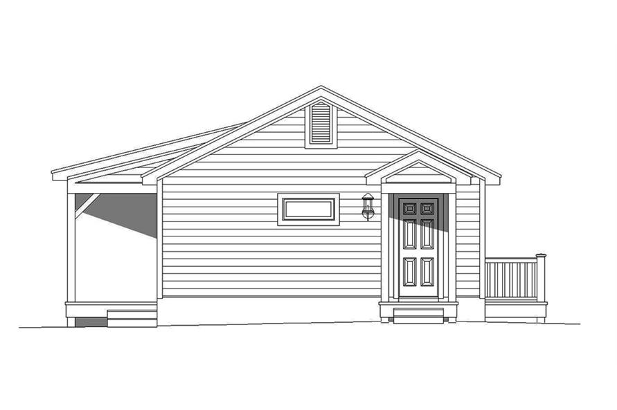 Home Plan Rear Elevation of this 1-Bedroom,765 Sq Ft Plan -196-1001
