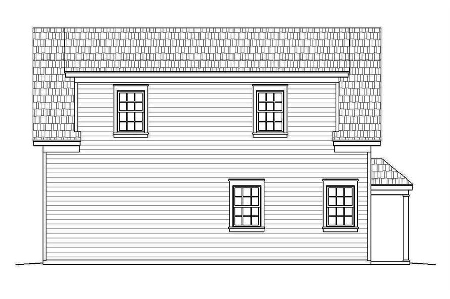 Home Plan Rear Elevation of this 1-Bedroom,907 Sq Ft Plan -196-1002