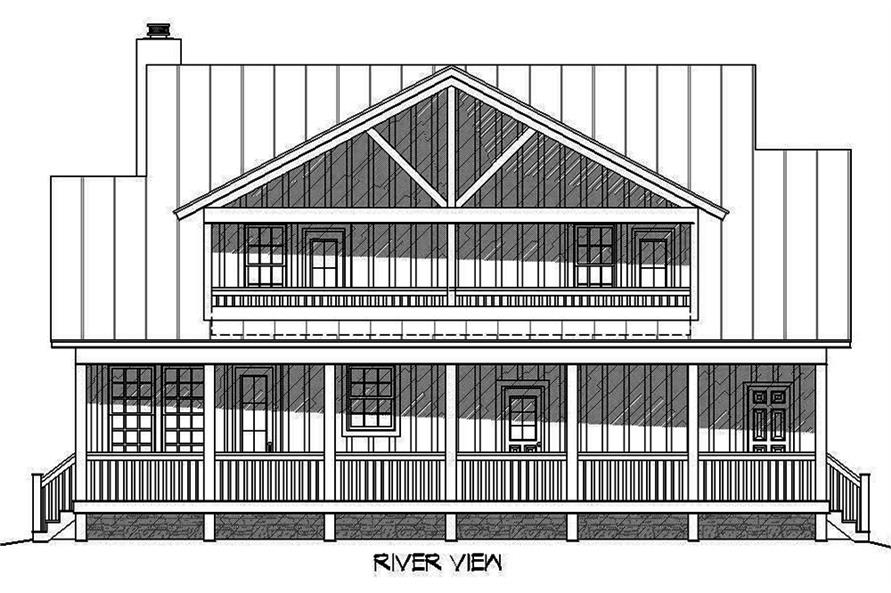 Home Plan Rear Elevation of this 3-Bedroom,1972 Sq Ft Plan -196-1009