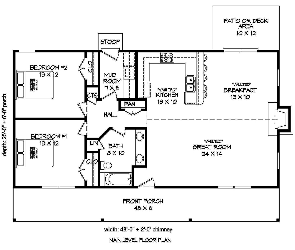 2 Bedrm, 1200 Sq Ft Cottage House Plan #196-1010