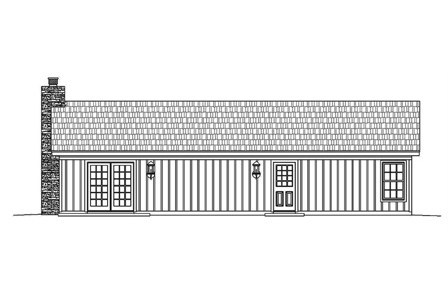196-1010: Home Plan Rear Elevation