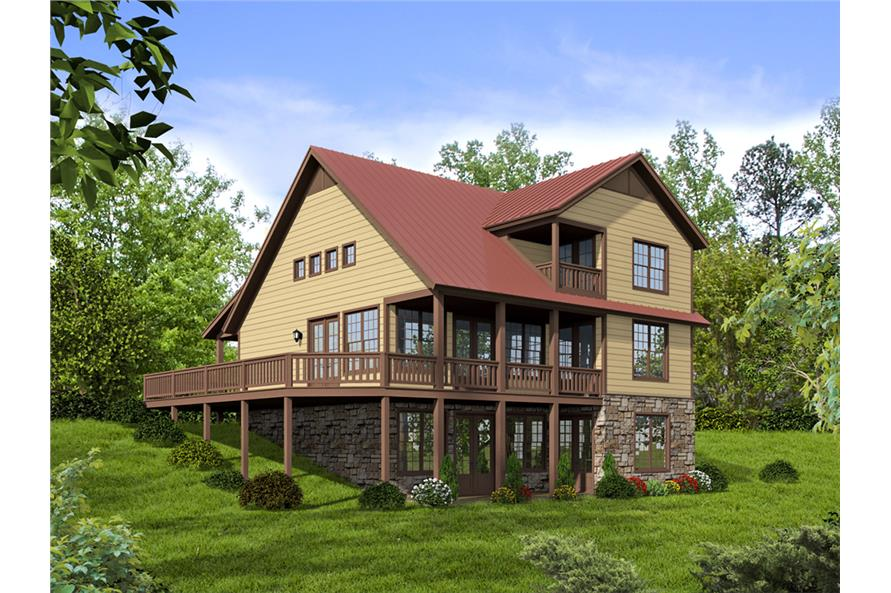 Rear View of this 3-Bedroom,1872 Sq Ft Plan -1872