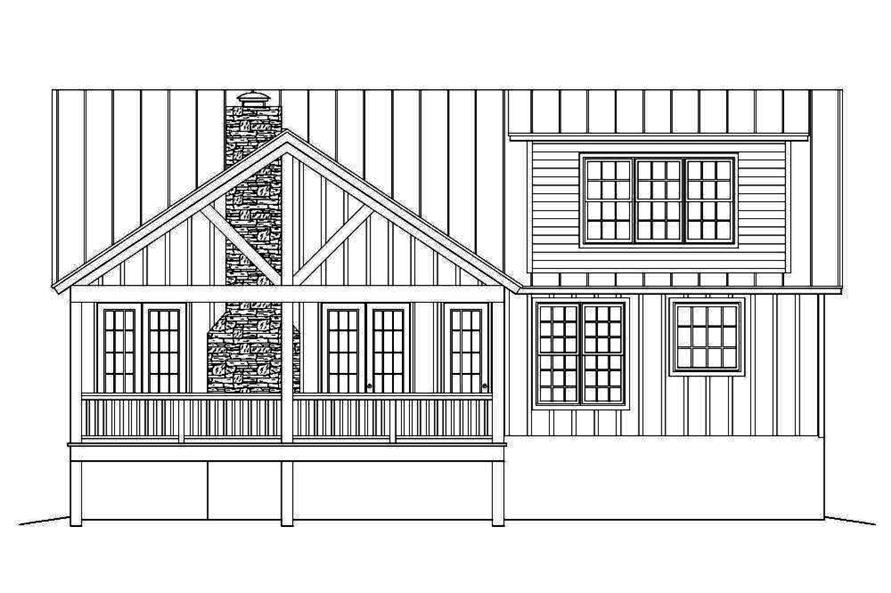 Home Plan Rear Elevation of this 2-Bedroom,2033 Sq Ft Plan -196-1013