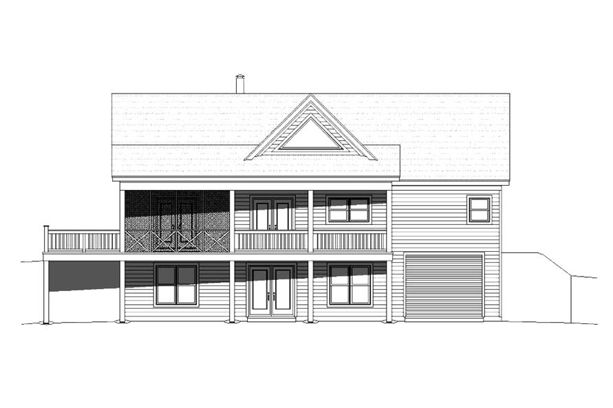 Home Plan Rear Elevation of this 2-Bedroom,1500 Sq Ft Plan -196-1014