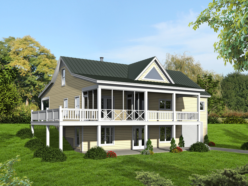 2 bedrm 1500 sq ft craftsman house plan 196 1014 for Home plans with a view to the rear