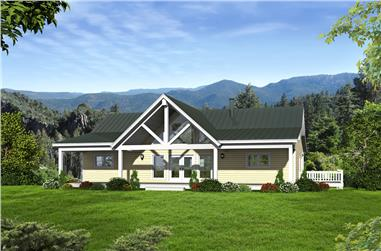 Front elevation of Craftsman home (ThePlanCollection: House Plan #196-1014)