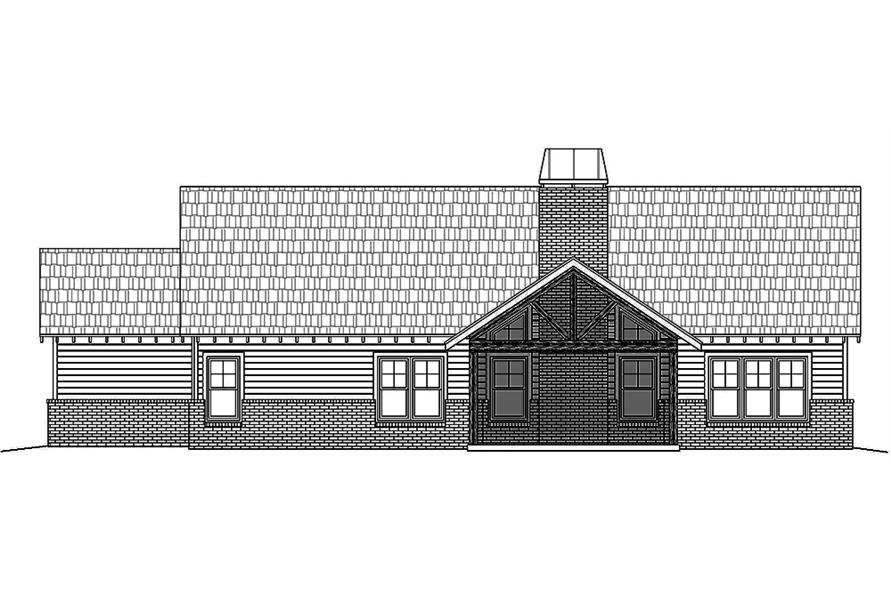 Home Plan Rear Elevation of this 3-Bedroom,2300 Sq Ft Plan -196-1018