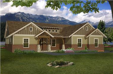Color rendering of Craftsman home plan (ThePlanCollection: House Plan #196-1018)