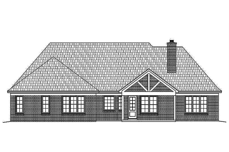 196-1021: Home Plan Rear Elevation