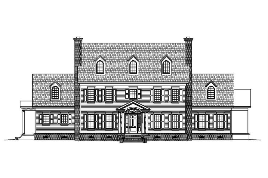 Home Plan Front Elevation of this 6-Bedroom,6858 Sq Ft Plan -196-1023