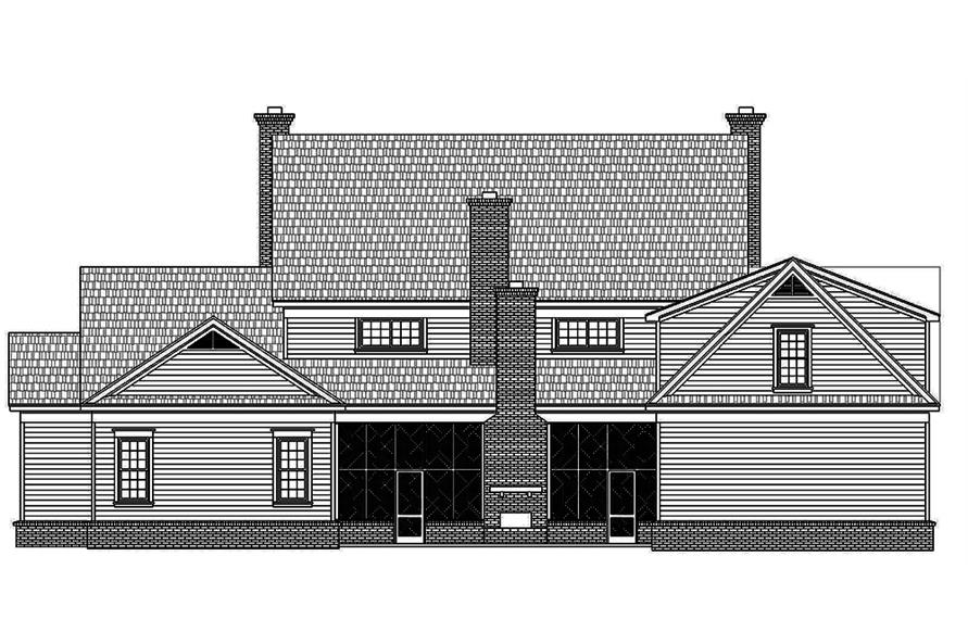 Home Plan Rear Elevation of this 6-Bedroom,6858 Sq Ft Plan -196-1023