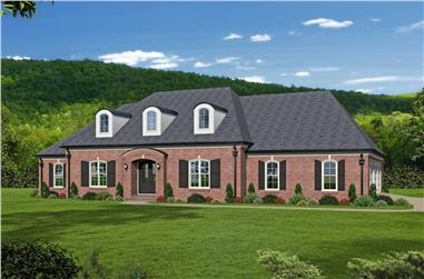 Front elevation of Luxury home (ThePlanCollection: House Plan #196-1026)