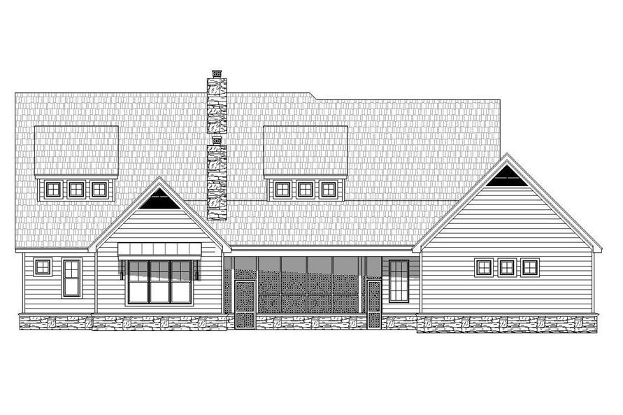Home Plan Rear Elevation of this 5-Bedroom,5371 Sq Ft Plan -196-1029