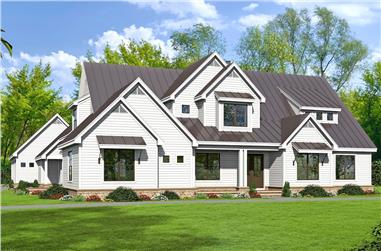 Color rendering of Luxury home plan (ThePlanCollection: House Plan #196-1029)