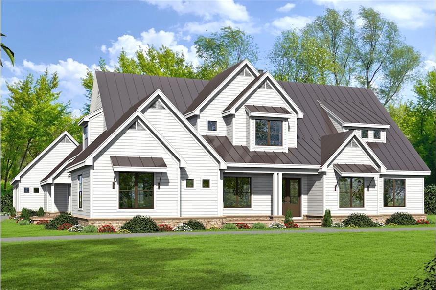 5-Bedroom, 5371 Sq Ft Luxury House Plan - 196-1029 - Front Exterior