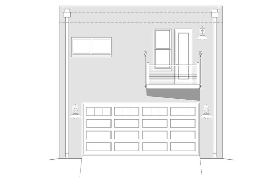 Home Plan Front Elevation of this 2-Bedroom,820 Sq Ft Plan -196-1030