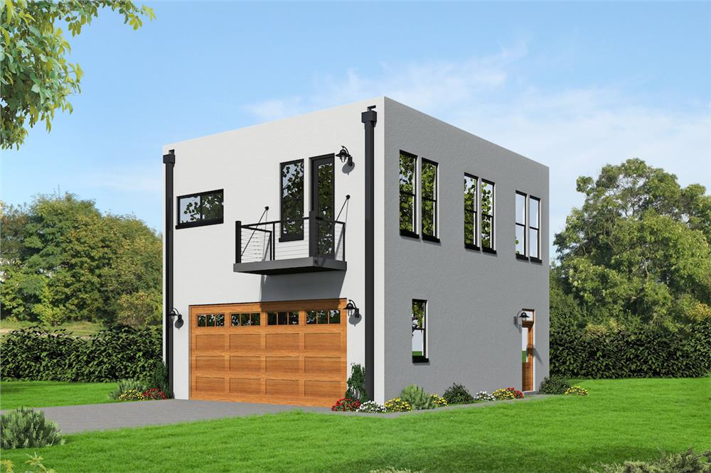 Garage w/Apartments home (ThePlanCollection: Plan #196-1030)