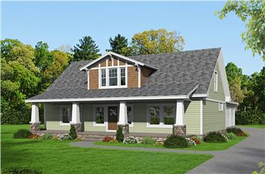 Front elevation of Craftsman home (ThePlanCollection: House Plan #196-1031)