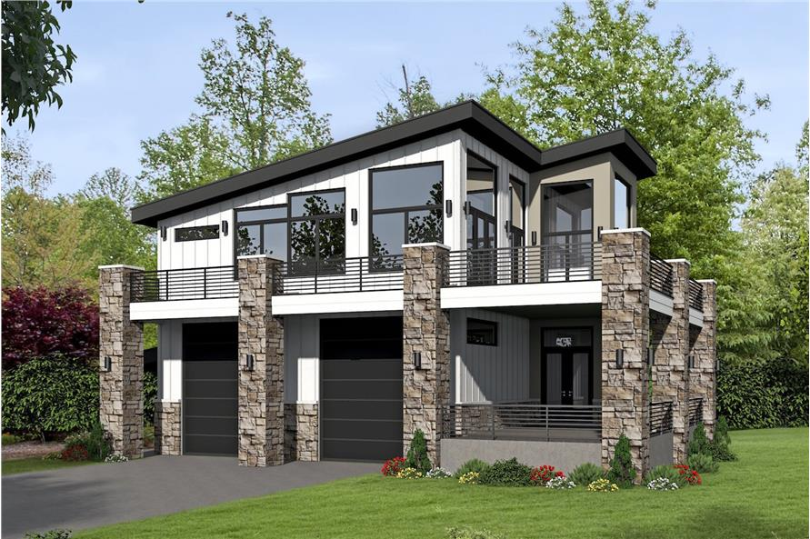 1-Bedroom, 1319 Sq Ft Contemporary House Plan - 196-1044 - Front Exterior