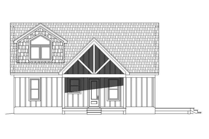 Home Plan Front Elevation of this 3-Bedroom,1400 Sq Ft Plan -196-1045