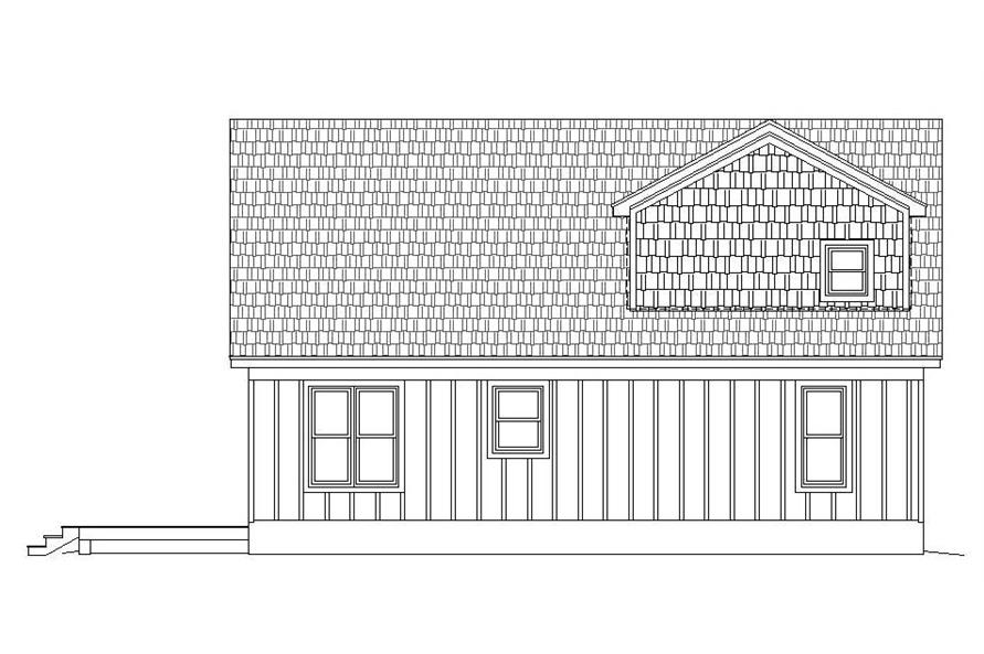 Home Plan Rear Elevation of this 3-Bedroom,1400 Sq Ft Plan -196-1045