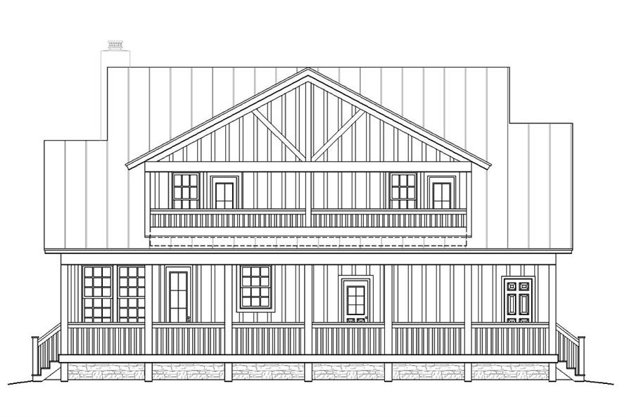 Home Plan Rear Elevation of this 3-Bedroom,1990 Sq Ft Plan -196-1047