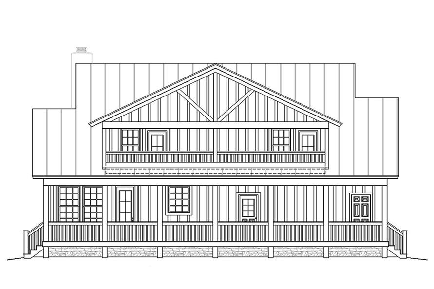Home Plan Rear Elevation of this 3-Bedroom,1990 Sq Ft Plan -196-1048