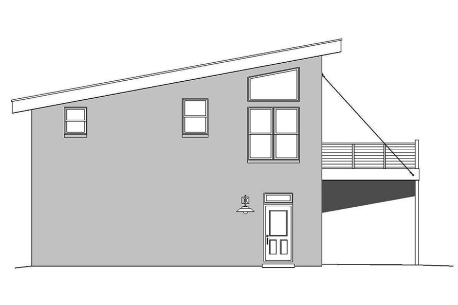 Home Plan Left Elevation of this 1-Bedroom,820 Sq Ft Plan -196-1049