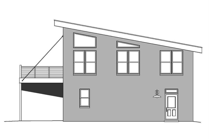 Home Plan Right Elevation of this 1-Bedroom,820 Sq Ft Plan -196-1049