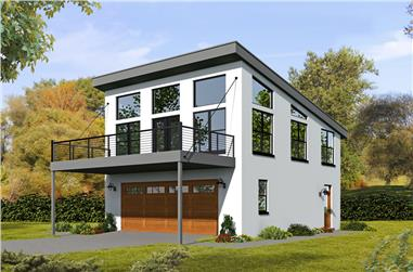 1-Bedroom, 820 Sq Ft Contemporary Home - Plan #196-1049 - Main Exterior