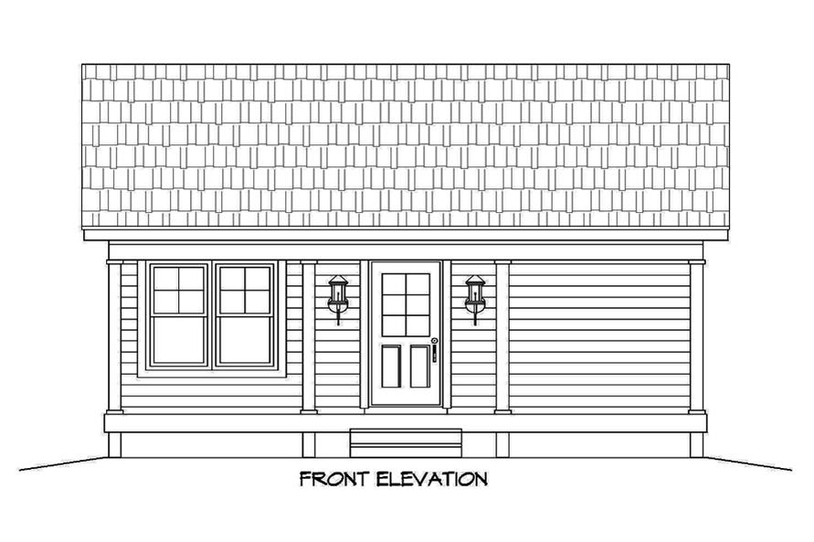 Home Plan Front Elevation of this 1-Bedroom,561 Sq Ft Plan -196-1050