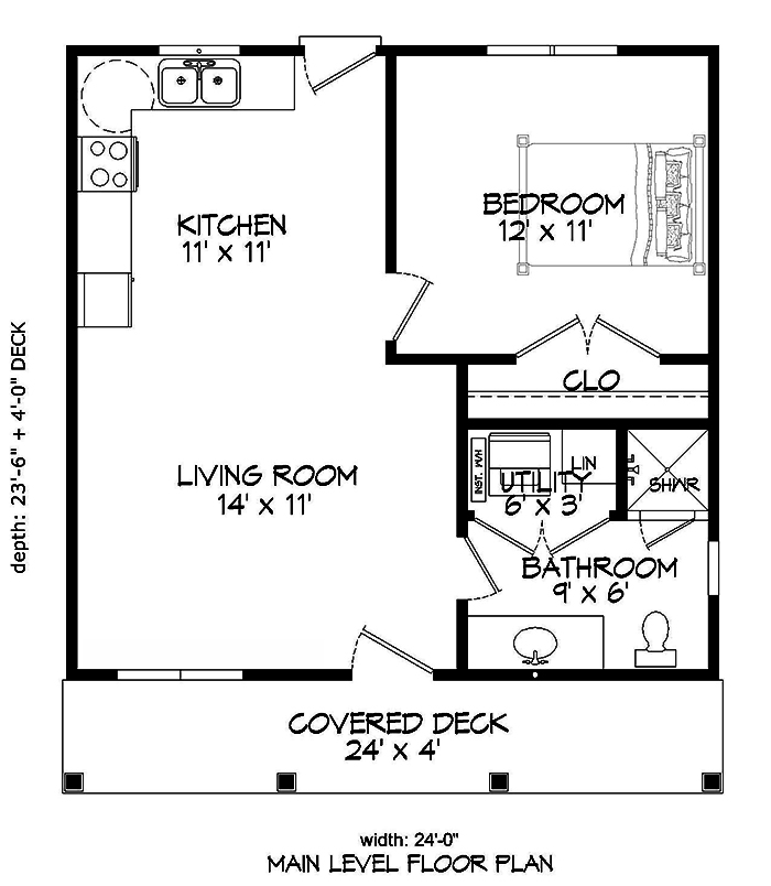 Small cottage style house plan 1 bedrms 1 baths 561 for 1050 sq ft floor plans