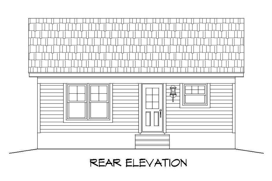 Home Plan Rear Elevation of this 1-Bedroom,561 Sq Ft Plan -196-1050