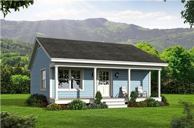 Color rendering of Small House home plan (ThePlanCollection: House Plan #196-1050)