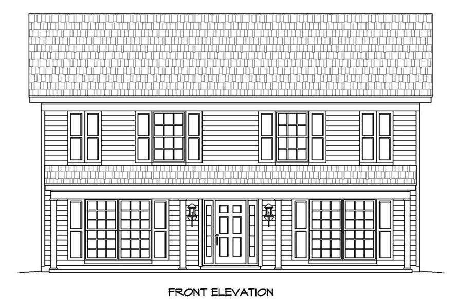 Home Plan Front Elevation of this 4-Bedroom,2040 Sq Ft Plan -196-1052
