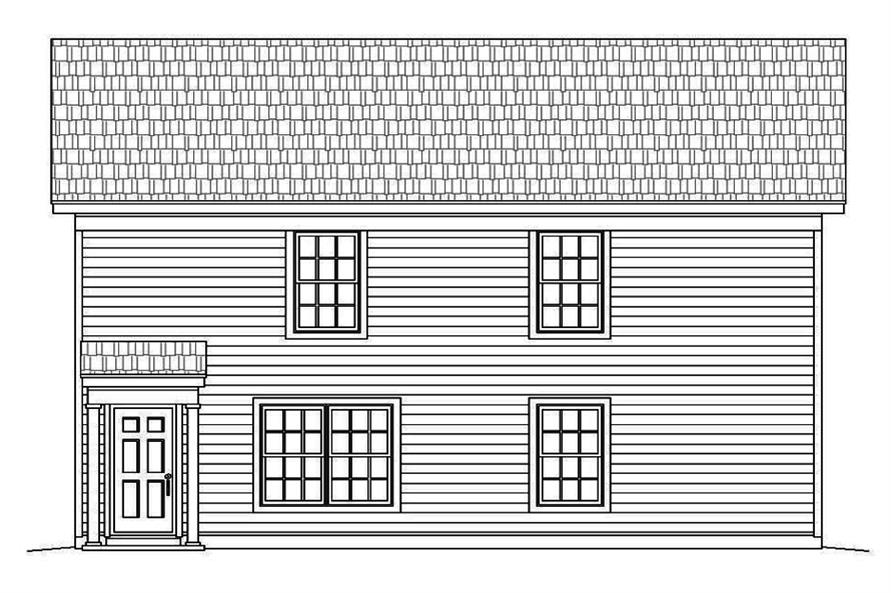 Home Plan Rear Elevation of this 4-Bedroom,2040 Sq Ft Plan -196-1052