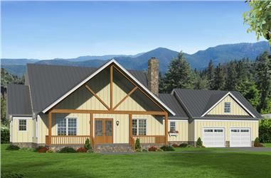Color rendering of Country home plan (ThePlanCollection: House Plan #196-1059)